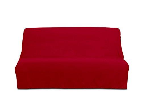 Soleil d'ocre copridivano clic-clac per divano letto, modello panama, cotone, colore rosso, taglia 190 x 204