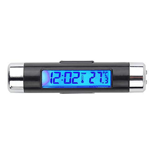 NAttnJf Auto-Uhr-Thermometer Auto Air Vent Outlet Clip-on Digital Hintergrundbeleuchtung LCD-Uhr Kalender Thermometer