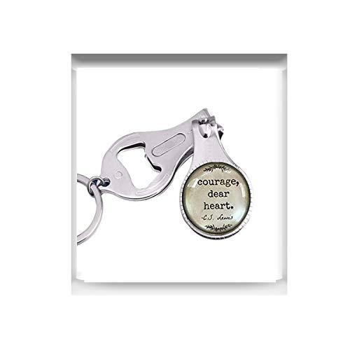 bab C.S. Lewis Zitat Courage Dear Heart Glaskuppel Halskette Anhänger Geschenkidee Gastgeberin Geschenk Nagelschere Nagelschere