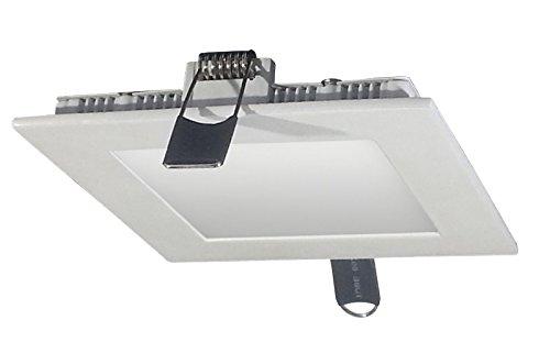 V-TAC 4820 8 W LED Panel Einbauleuchte viereckig - 3000 Kelvin warmweisses Licht weiss lackierter Rand VT-800 SQ