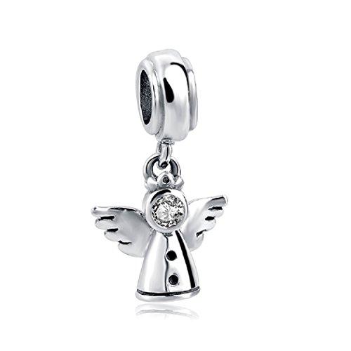 Featherwish 925sterling silver angel fairy ciondolo con zirconi per braccialetti pandora