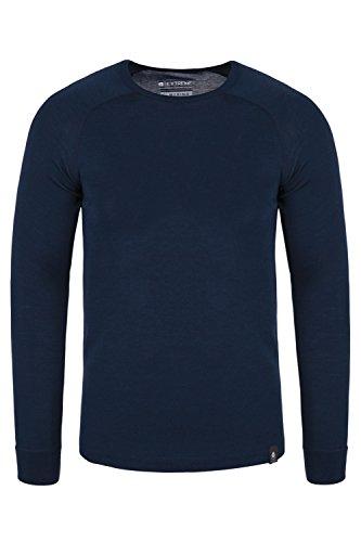 Mountain Warehouse Merino Langarm Baselayer-Thermotop für Herren - Leichtes T-Shirt, warm, antibakteriell, schnelltrocknend - Ideal bei kaltem Wetter Winter Baselayer Marineblau X-Large (Herren-unterwäsche Langarm)
