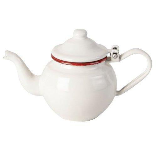 IBILI Teekanne 0,5 l aus emailliertem Stahl in weiß/rot, 10 x 17 x 10 cm