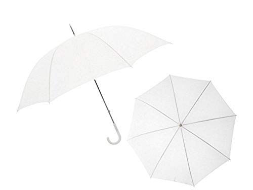 Ombrello grande sposa bianco diametro 115 cm con rifiniture bianche