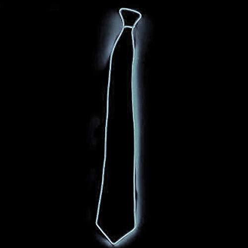 LED Herren Light Up Krawatten, JunYee Kostümzubehör Light EL Tie für Halloween Weihnachtskarneval, Tanzaufführungen, El night bar-White (Up Krawatten Light)