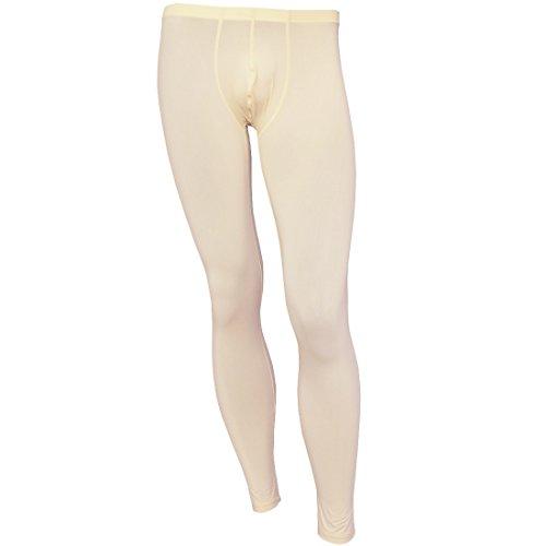 iEFiEL Herren Legging Leggin Lange Unterhose Longjohns Underwear Unterwäsche mit Transparent Effekt (XL, Beige)