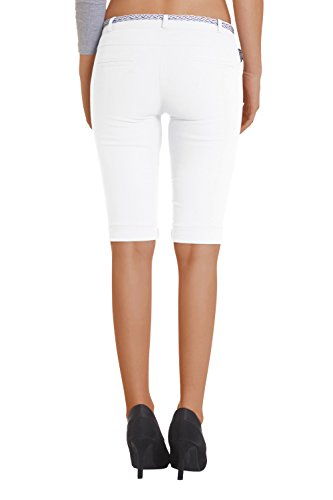 Damen Chino, Bermuda Shorts kurze Capri Hose inkl. Design Gürtel ( 454) Weiß