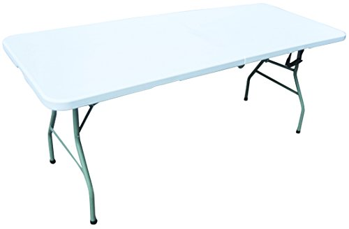 Redwood Leisure 1.80m Heavy Duty Folding Table & White Plastic Tablecloth, 9ft x 4.5ft Set
