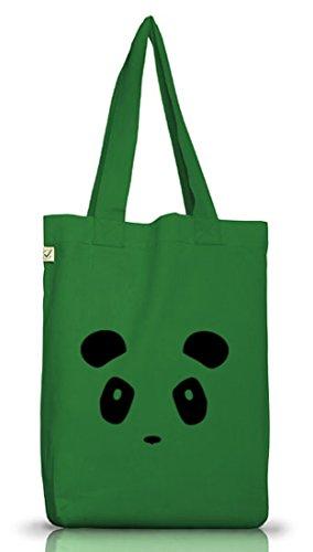 Shirtstreet24, PANDA FACE, Panda Gesicht Jutebeutel Stoff Tasche Earth Positive Moss Green