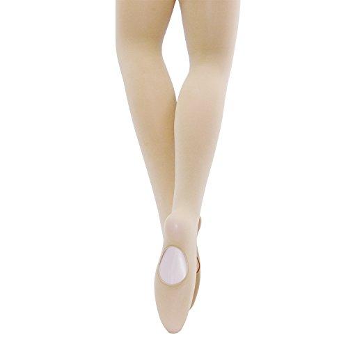 Stretch Convertible Strumpfhose (MANZI 3 Paar 40 Denier Tanzstrumpfhose Damen Mädchen Convertible Stretch Übergang Ballett Strumpfhose Gr. M, Nude(1 Pair))