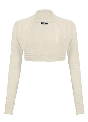 Plus Size - Coprispalle da donna in tinta unita a maniche lunghe, bolero coprispoalle cardigan top Cream