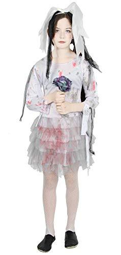 Foxxeo blutige Zombie Braut Kostüm für Kinder - Größe 122 bis 176 - weißes Brautkleid für Mädchen zu Halloween Kleid Größe - Ein Zombie Braut Kostüm