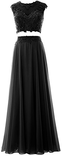 MACloth Women 2 Piece Long Prom Dress Lace Chiffon Formal Party Evening Gown Black