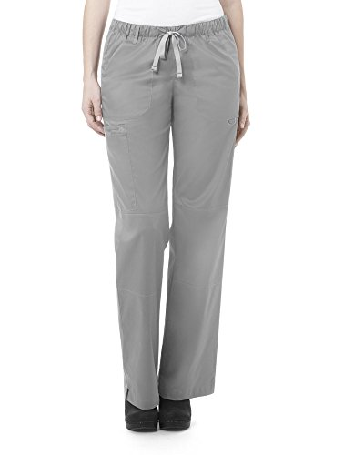 WonderWink Women's Petite-Plus-Size Wonderwork Straight Leg Cargo Scrub Pant, Grey, 3X-Large -