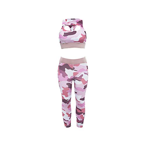 aoliaoyudonggha Fashion Camouflage Print Set Women Sexy Hollow Tops And Trousers High Waist Pocket Leggings Two-piece Suit (Maroon Outfit Leggings)
