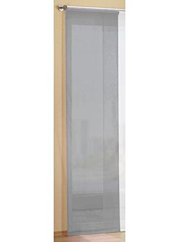 Gardinenbox Flächenvorhang Schiebegardine Voile Uni transparent mit Paneelwagen und Beschwerungsstange, Polyester, Grau, 245 x 45 cm