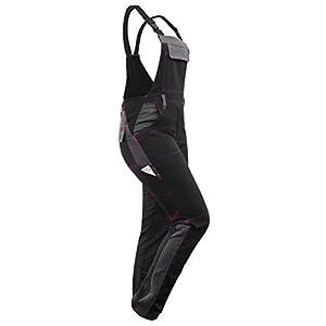 strongAnt® - Damen Arbeitshose Arbeits-Latzhose Stretch Schwarz-Grau Pink für Frauen mit Kniepolstertaschen. Baumwolle Kombihose - Made in EU