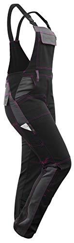 strongAnt® - Damen Arbeitshose Arbeits-Latzhose Stretch für Frauen mit Kniepolstertaschen. Baumwolle Kombihose Schwarz-Grau Pink 34