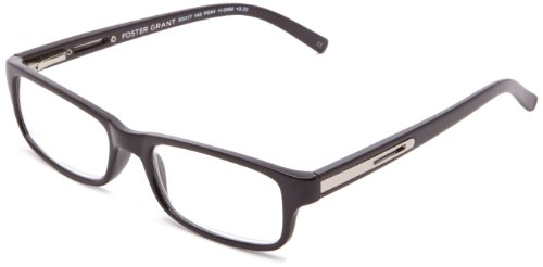 Foster Grant Men ' s Brandon Rectangular Reading Glasses,Black,50 mm/+ 2