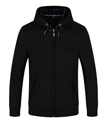 SELENECHEN Herren Sweatshirt Kapuzenpullover Sweatjacke Pullover Hoodie Sweat Hood Mit Reißverschluss (schwarz, M)