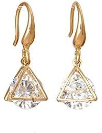 The Bling Studio Gold In Tringular Shape - Dimond Drop Earrings. (BS7E43)