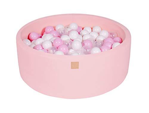 MeowBaby 90X30cm/200 Balles ∅ 7Cm Piscine À Balles pour Bébé Rond Fabriqué en UE Rose: Blanc/Rose Pastel/Transparent