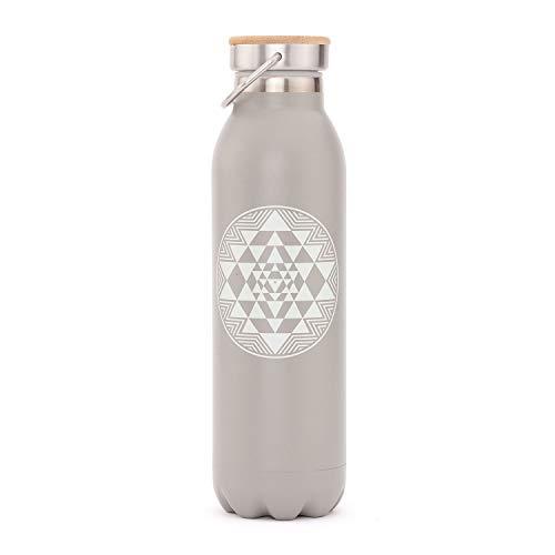 Bodhi Edle Isolier-Trinkflasche aus Edelstahl, Kratzfest, auslaufsicher, 600 ml, mit Yoga-Design...