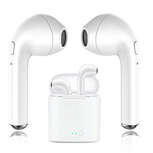 Auriculares Bluetooth, i7 Auriculares inalámbricos con caja de carga Mini Auriculares ergonómicos Earbud con auriculares con micrófono, Compatible con teléfono inteligente iPhone X 8 8plus 7 7plus Android 6s Samsung iOS