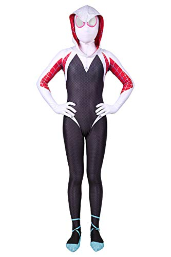 Gwen Stacy Spinne Spider-Verse Jumpsuit Spider Woman Cosplay Kostüm Rosa L (Spider Woman Bodysuit)