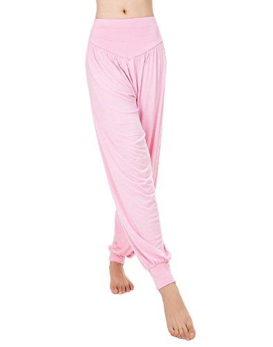 Baymate - Sarouels Pantalon Yoga Bouffant Modal pour Femme -Bloomer Elastique Extensible - Harem Pants Danse Pilates Sport pink