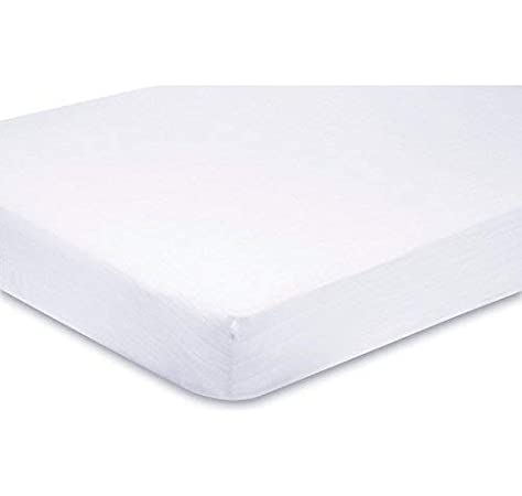 2 X Cot Bed Fitted Sheets White 70 x 140 cm Easy Care Fine Quality
