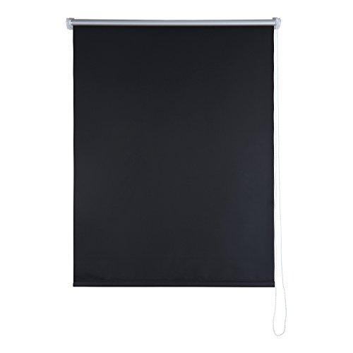 Shiny Home Thermo-Rollo mit Klemmfix ohne Bohren,Verdunkelung, 80 cm breit, 80 x 230 cm, Schwarz (Plissee-vorhänge 84)
