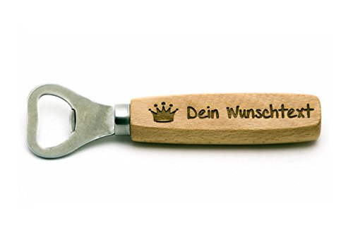 SNEG Flaschenöffner aus Holz mit Gravur (Text + Motiv) (einseitige Gravur)