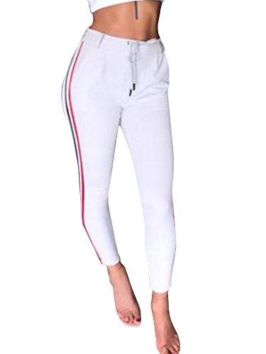 Gemijacka Damen High Waist Jogginghose Freizeithose Röhrenhosen Mit Seitenstreifen
