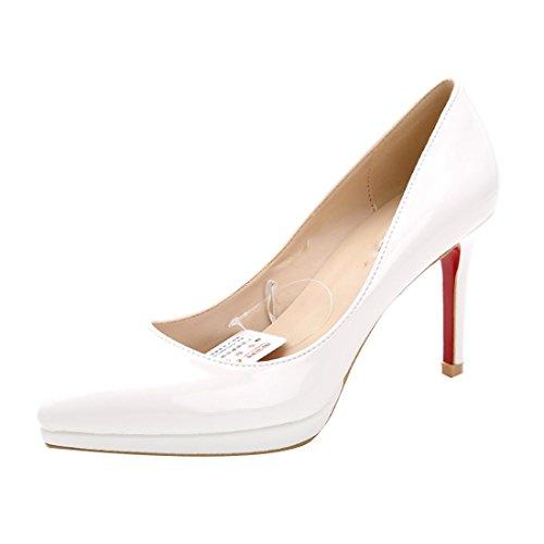 HooH Femmes Cuir Verni Pointu Stiletto Escarpins CL054 Blanc