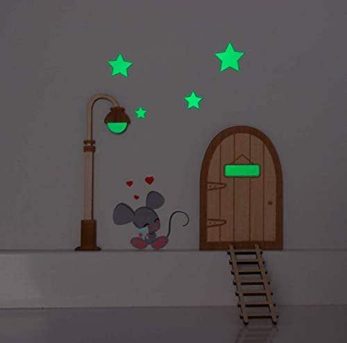 Topolino dei denti. Lampione e stelle che brillano nell'oscurità. Porta, lampione e scala in legno per dipingere e personalizzare...