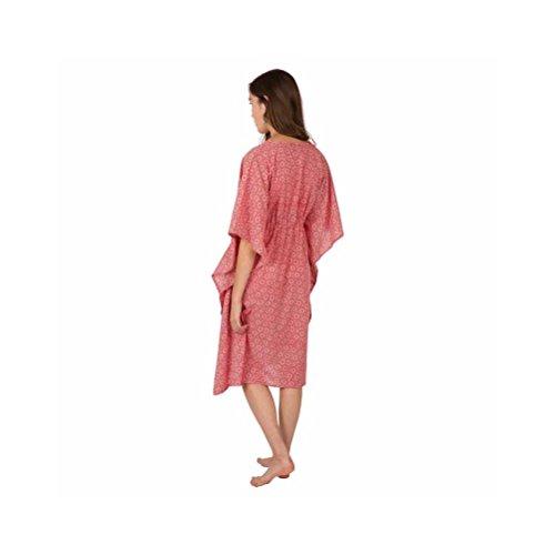 Zen*Ethic - Robe bohême type Caftan Long Yuko - Popeline de coton Rouge