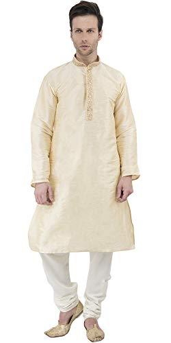 SKAVIJ Herren Tunika Kurta Pyjama Party Tragen Kleid (Beige, Brustumfang - 107 cm) -