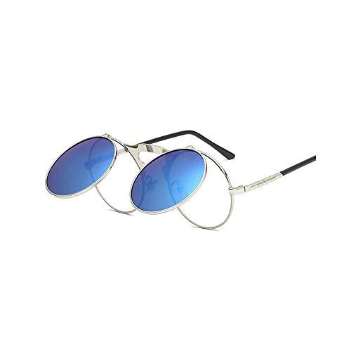 WHABJMetallrahmen Sonnenbrillen Männer Frauen Sonnenbrillen Flip Up Runde Brille Berühmte Sonnenbrille