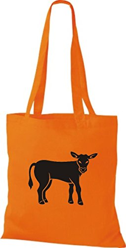 Shirtstown Stoffbeutel Tiere Kuh, Bulle Orange