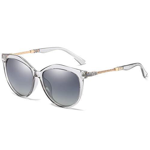 WHCREAT Klassische Mode Polarisierte Sonnenbrille für Damen Cat-Eye UV400 Schutz Farbverlauf Linse - Grau Rahmen Grau Linse