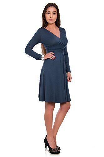 Futuro Fashion Classique & Sensible Femmes Robe Col V Manches Longues Empire 8467 Graphite