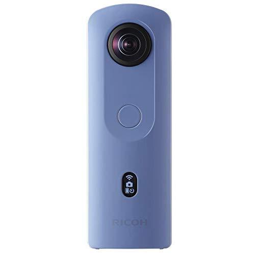 RICOH THETA SC2 BLEU Camera 360° Video 4K avec stabilistation Haute résolution d'image transfert de données haute vitesse Capture d'image de nuit sans bruit Fin et léger pour iPhone, Android