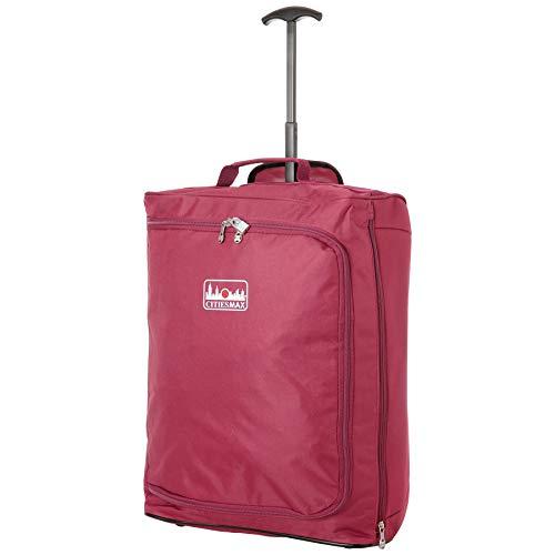 55x40x20cm Ryanair 42L Maximal-Größe Kabine Handgepäck kabinenzugelassene Koffer Trolley Tasche (Wein) -