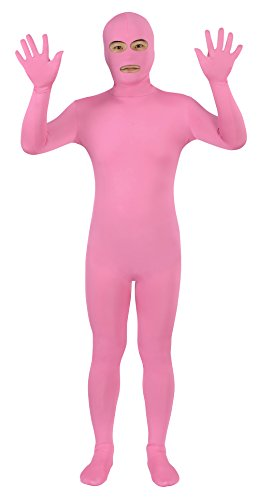 Sheface Spandex Eyes & Mouth Open Second Skin Zentai Full Body Costume (X-Large, Pink)
