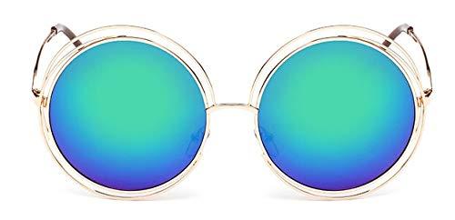 Macxy - Vintage Round Big Size Maxi-Objektiv Spiegel-Sonnenbrille Frauen Metallrahmen Lady Sun-Glas-Dame Cool Retro [Gold Blau Grau]