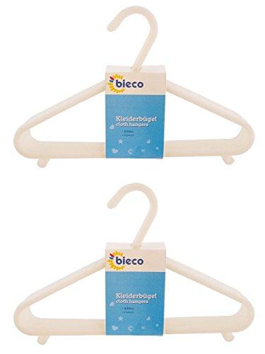 cintres BIECO cintres pour bébé bébé enfant Hanger cintres en plastique pour la longueur de l'armoire de stockage garde-robe 29.5cm, 16 pièces, blanc, étroit, ArtN 90016147
