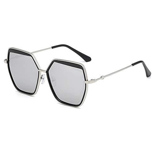 Z&HA Frauen Sonnenbrillen Oversized Hexagonal Metal Frame and Gradient Linsen UV400 Schutzbrillen für Männer Fahren Reisen,Silver