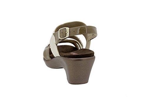 Komfort Damenlederschuh Piesant 6859 sandal schuhe herausnehmbaren einlegesohlen bequem breit Beig