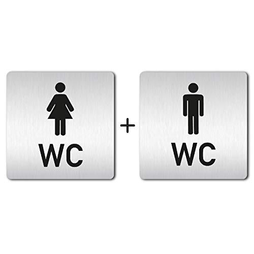 XXL WC Schilder - 125 x 125 mm - Türschilder - Toilettenschilder SET